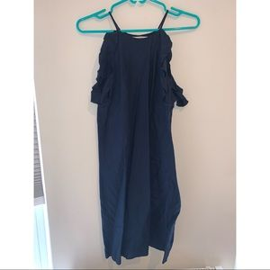 Mango Size small navy linen dress